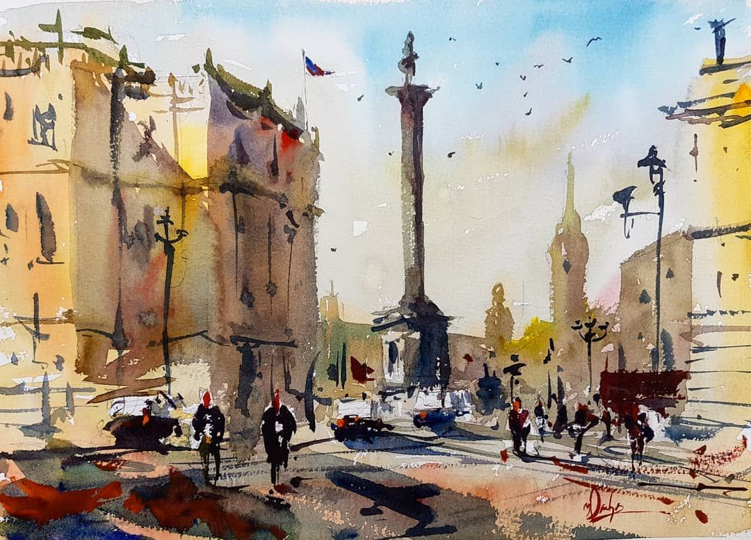 Nelson S Column Trafalgar Square London Watercolorsketch