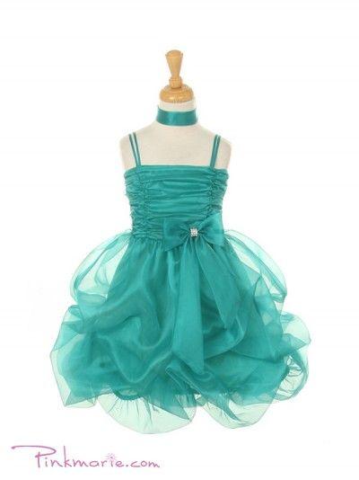 Jade Organza Short Gathered Girl Dress