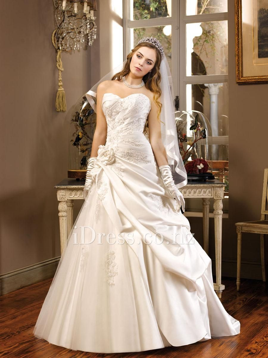 princess sweetheart a-line flower side draped pick-up skirt wedding dress from idress.co.nz