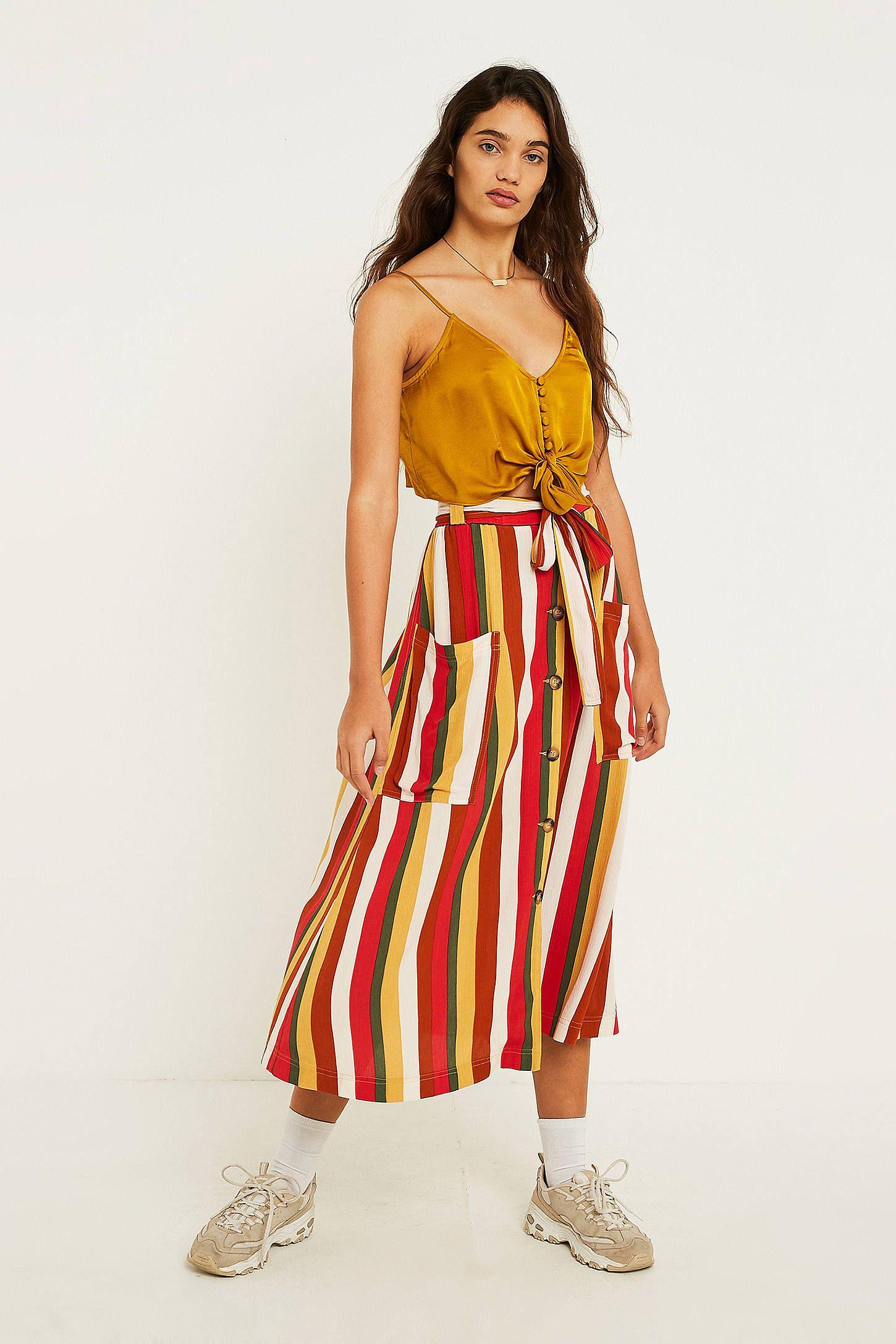 6df97d547b58 UO Vertical Stripe Button-Through Midi Skirt | 服装 | Midi Skirt ...