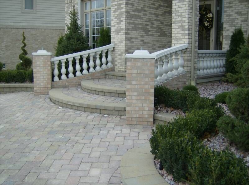 Our custom curved cement balustrade rail for this front ...