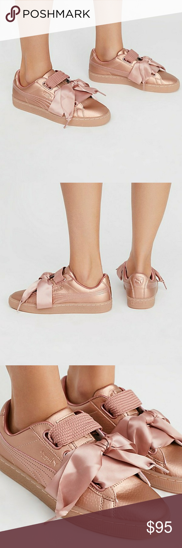 check out 13135 e9082 Puma Basket Heart Rose Gold/Copper Rose Sneakers Excellent ...