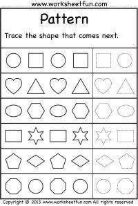 patterns trace the shape that comes next 2 worksheets worksheets tracing worksheetsprintable preschool worksheetskids - Pattern Worksheets Kindergarten Printable