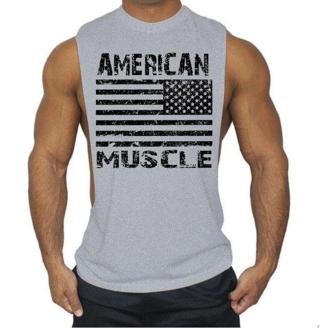 a34c0e38b6 American Flag Design Bodybuilding Fitness Men Tank Top Golds gyms clothing  Gorilla Wear Vest gasp Stringer sportswear Undershirt