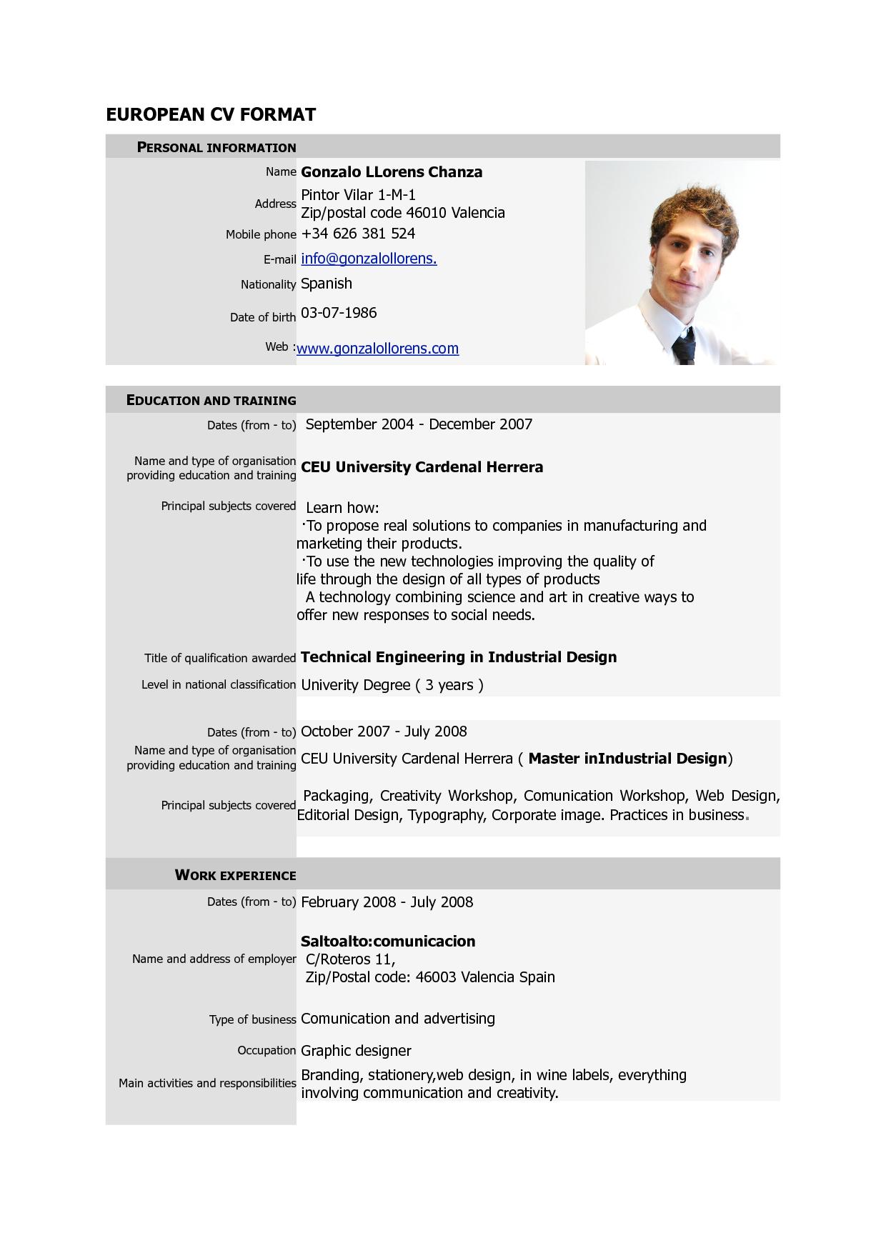 Curriculum Vitae Format PDF http//www.resumecareer.info
