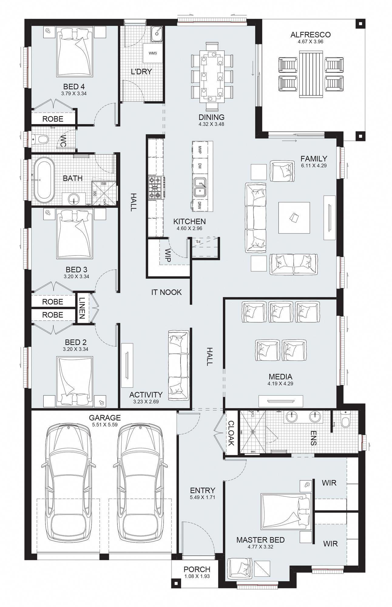 Sierra 29 Single Level Floorplan By Kurmond Homes New Home Builders Sydney Nsw Modernhom Home Design Floor Plans Single Level House Plans My House Plans