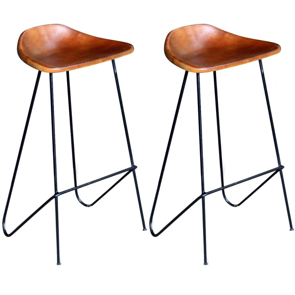 Bar Chairs 2 Pcs Black And Brown Real Leather Leather Bar Stools Bar Chairs Iron Stools