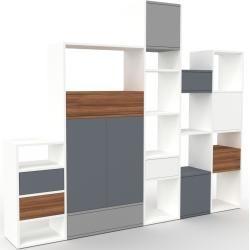 Photo of Regalsystem Weiß – Regalsystem: Schubladen in Nussbaum & Türen in Anthrazit – Hochwertige Materialie