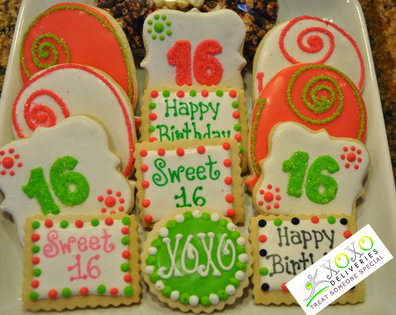 Happy Birthday gift box XOXO Deliveries 12 decorated cookies