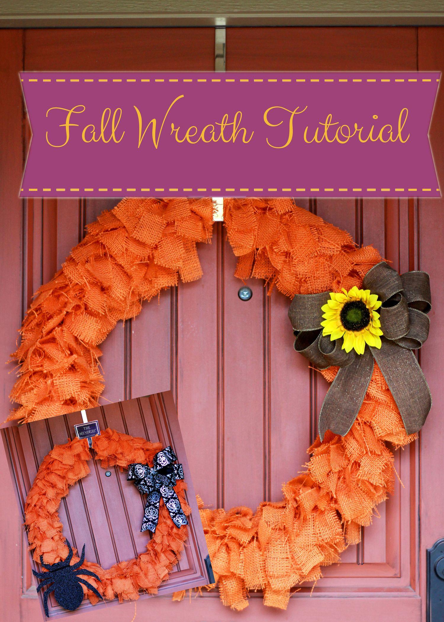Easy DIY Halloween & Fall burlap wreath. All you need is a