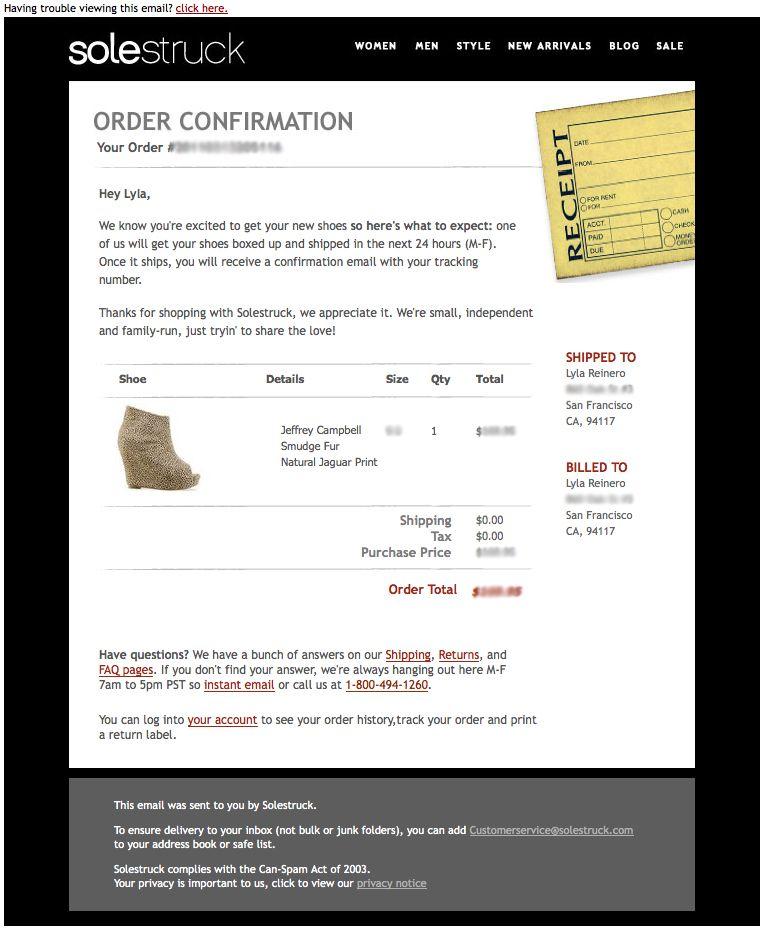 Order confirmation receipt Emails Pinterest Confirmation and - confirmation of receipt template