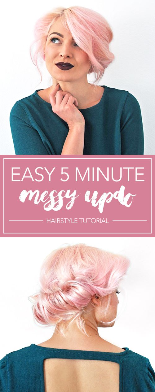 Easy 5 Minute Messy Updo Hairstyle Tutorial #messyupdos