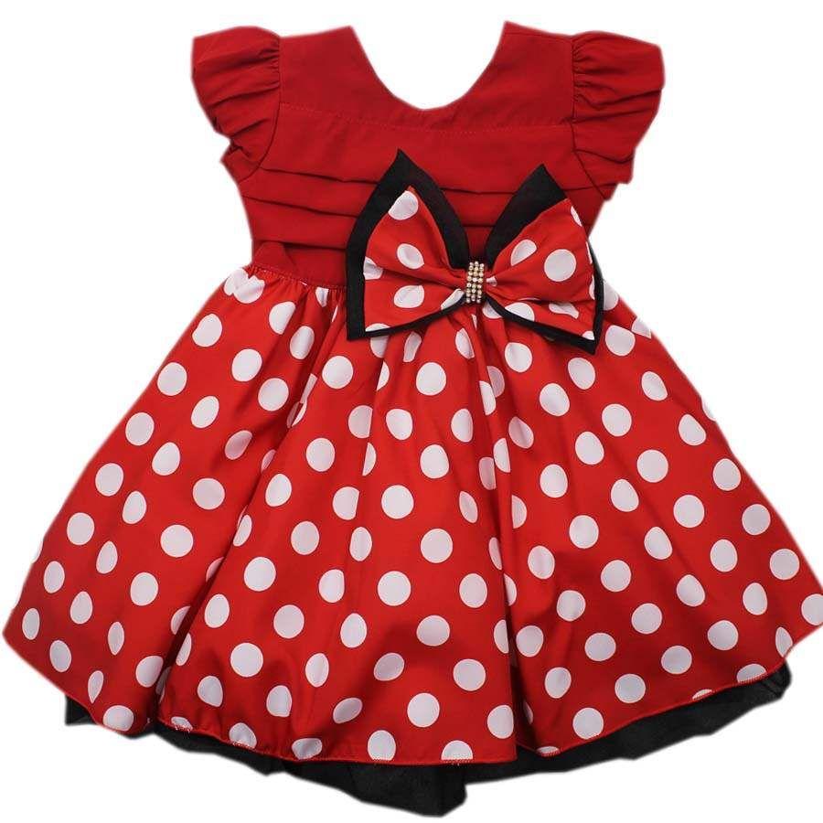 Vestido Infantil estilo Festa Minie Disney R$ 112,00 | Minnie ...