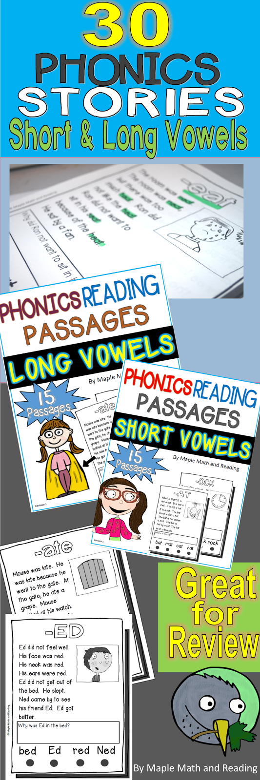 30 Phonics Stories (Short and Long Vowel Sounds) Bundled~ Many of ...