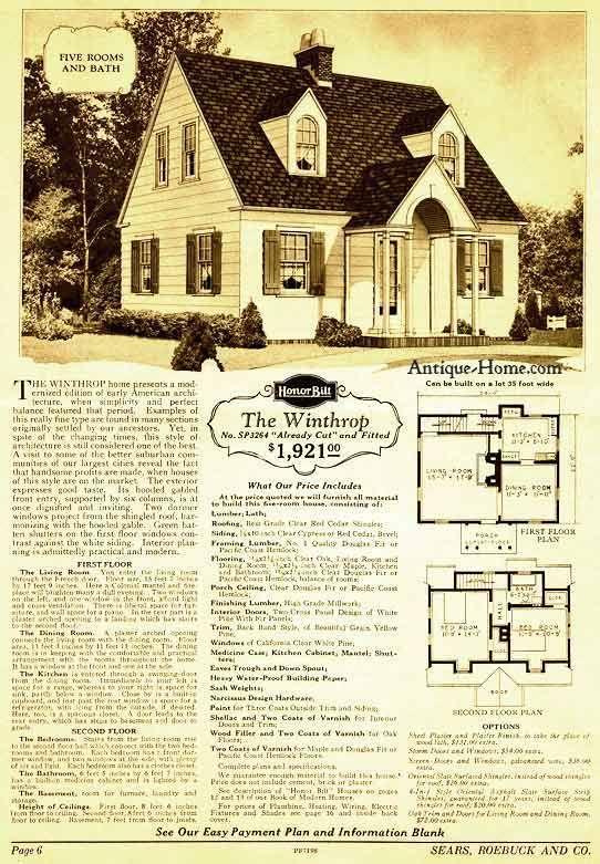 Sears Honor Bilt Homes 1928 Winthrop Colonial Revival Cape Cod Vintage House Plans Custom Home Plans Winthrop