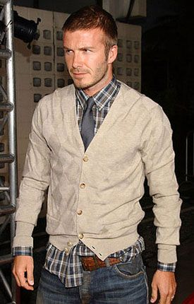 David Beckham & cardigan, plaid with tie | Well dressed men