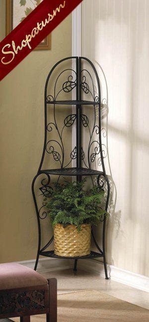 Leaf Design Black Metal Corner Bakers Storage Shelf Shelves Storage Shelves Accent Furniture