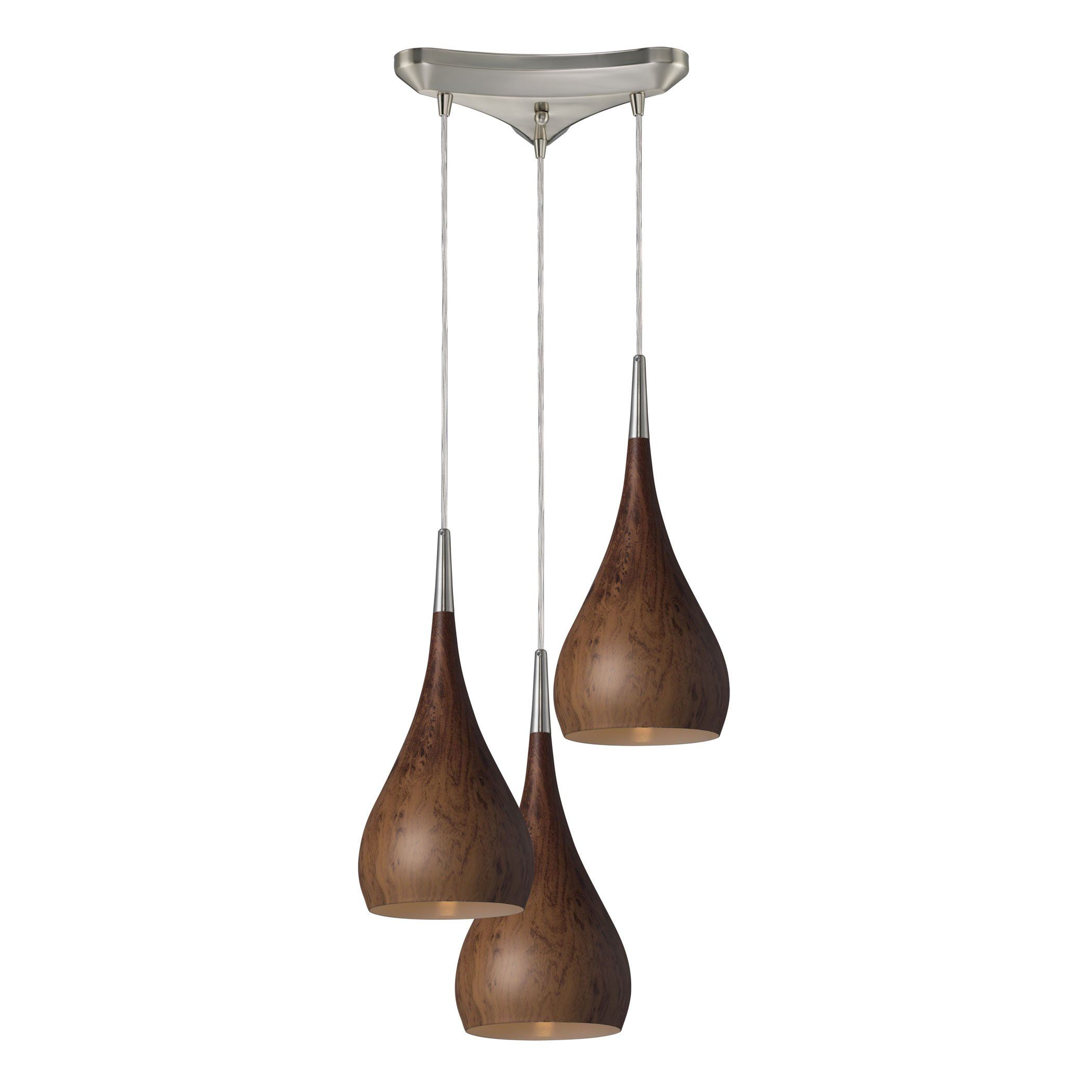 Lindsey led light pendant in burl wood and satin nickel by elk