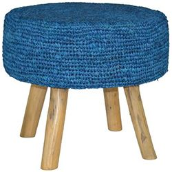 Blue Raffia Stool
