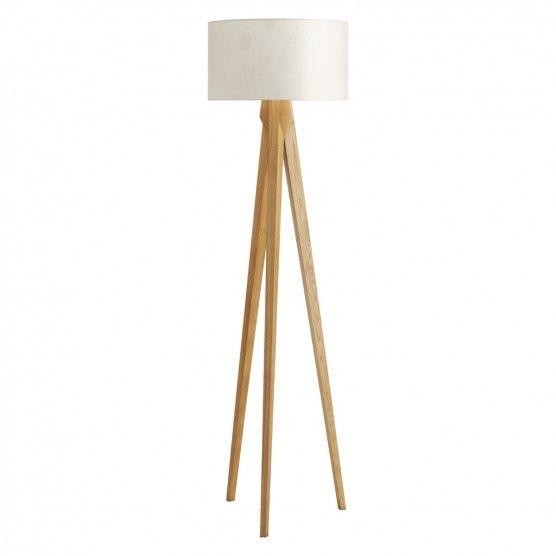Tripod Ash Wooden Floor Lamp With White Shade Wooden