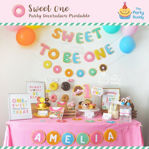 Sweet to be ONE Girls 1st Birthday Party Pack Donut Party Kit