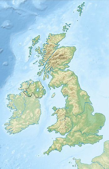 Map of the UK with location of Mary queen of scotss places of