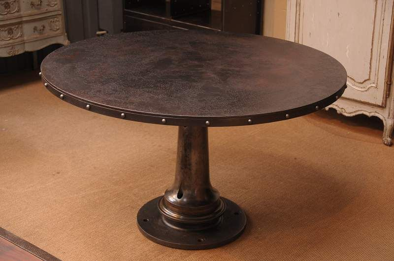 1930 Vintage French Industrial Round Dining Table With Rivets On Apron Photo