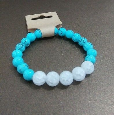 Matte Crystal quartz and glass blue beads stretch bracelet