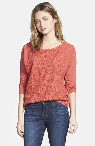 Hinge Lace Panel Long Sleeve Top available at #Nordstrom