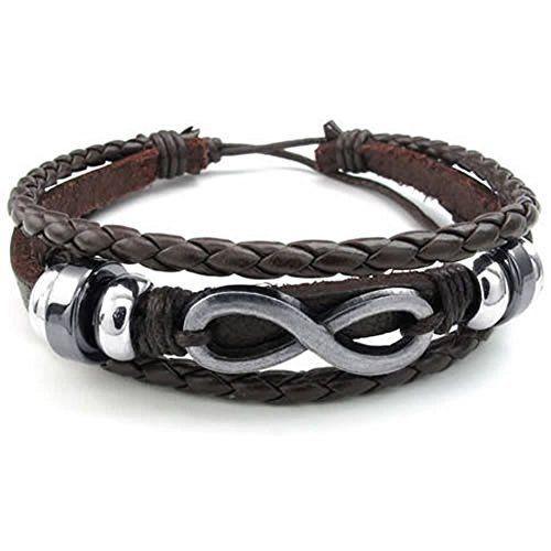 KONOV Mens Womens Leather Bracelet, Love Infinity Charm Bangle, Fit 7-9 inch, #KONOV