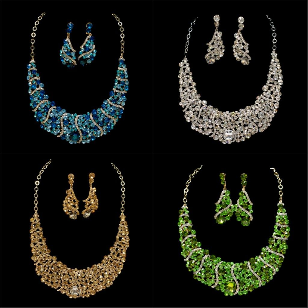 WHOLESALE NEWEST CRYSTALS EARRINGS NECKLACE SET PARTY WEDDING