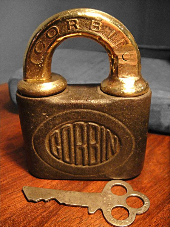 Antique Corbin Lock Push Key Padlock By Rustynaildesign On Etsy