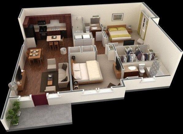 Plano de departamento moderno en 3d arquitectura for Maquetas de apartamentos modernos