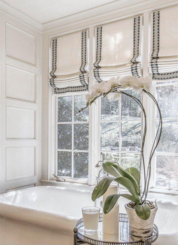 Roman shades with trim CUSTOM fabric QUICK SHIP shades trimmed roman shades ribbon trim kitchen window shades linen roman shade bathroom #windowtreatments