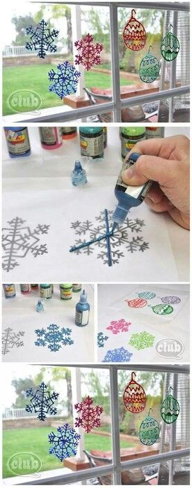 How to make glitter window clings from puffy paint