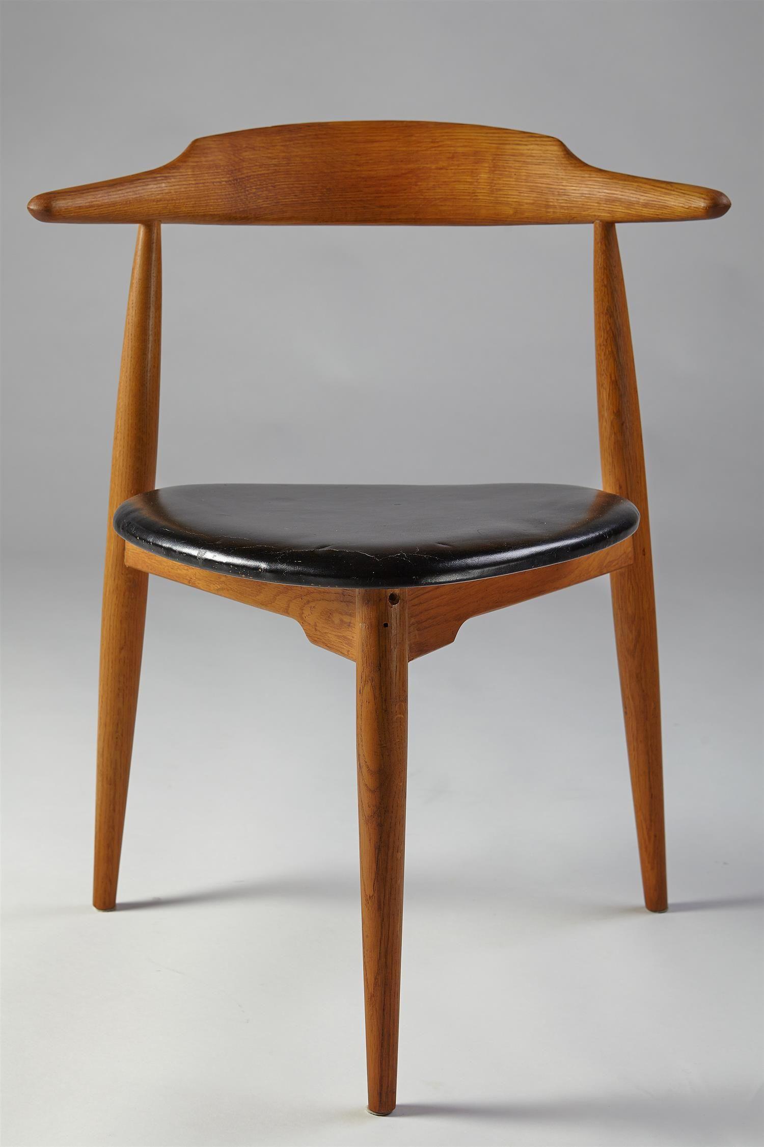 Chairs, Heart chairs. Designed by Hans Wegner for Fritz Hansen, Denmark. 1950s