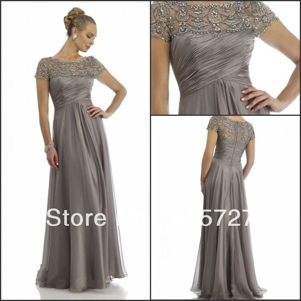 New Arrival 2014 Short Sleeve Gray Chiffon Beading Draped Mother ...