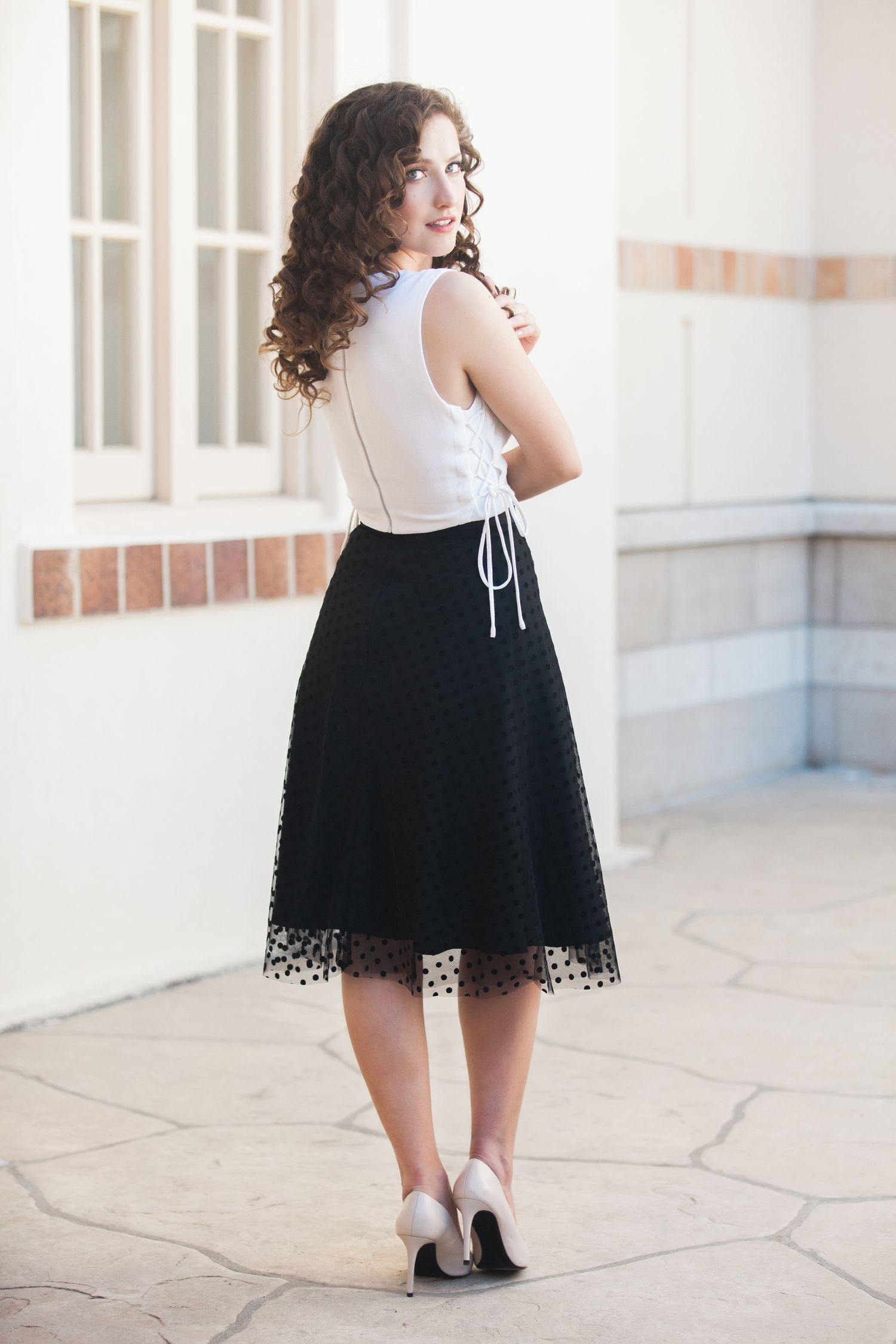 "Cute polka dot skirt! Criss-Cross Lace Up Sleeveless Top, New Romantic Black Polka Dot - 27"" Length"