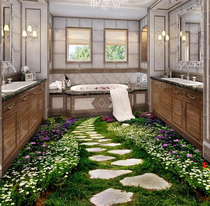 3D Garden Stone Path Floor Mural AJ Wallpaper Floor