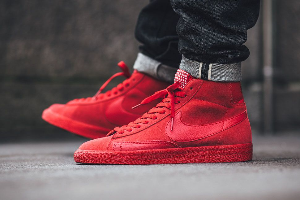 nike blazer mid red leather trainers stars