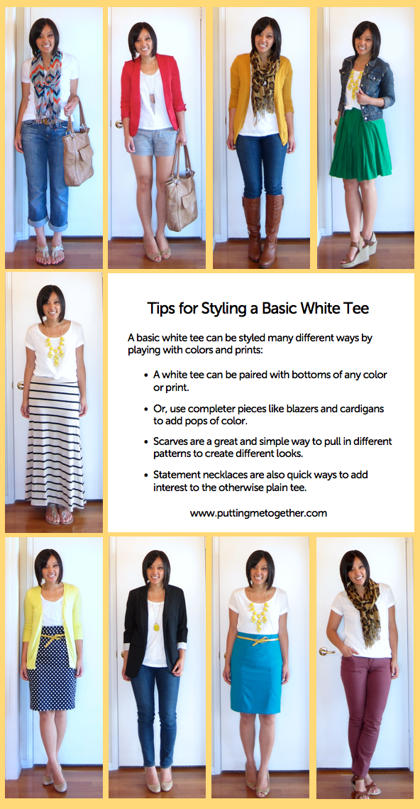 Styling a plain white tee: from the blog Putting Me Together