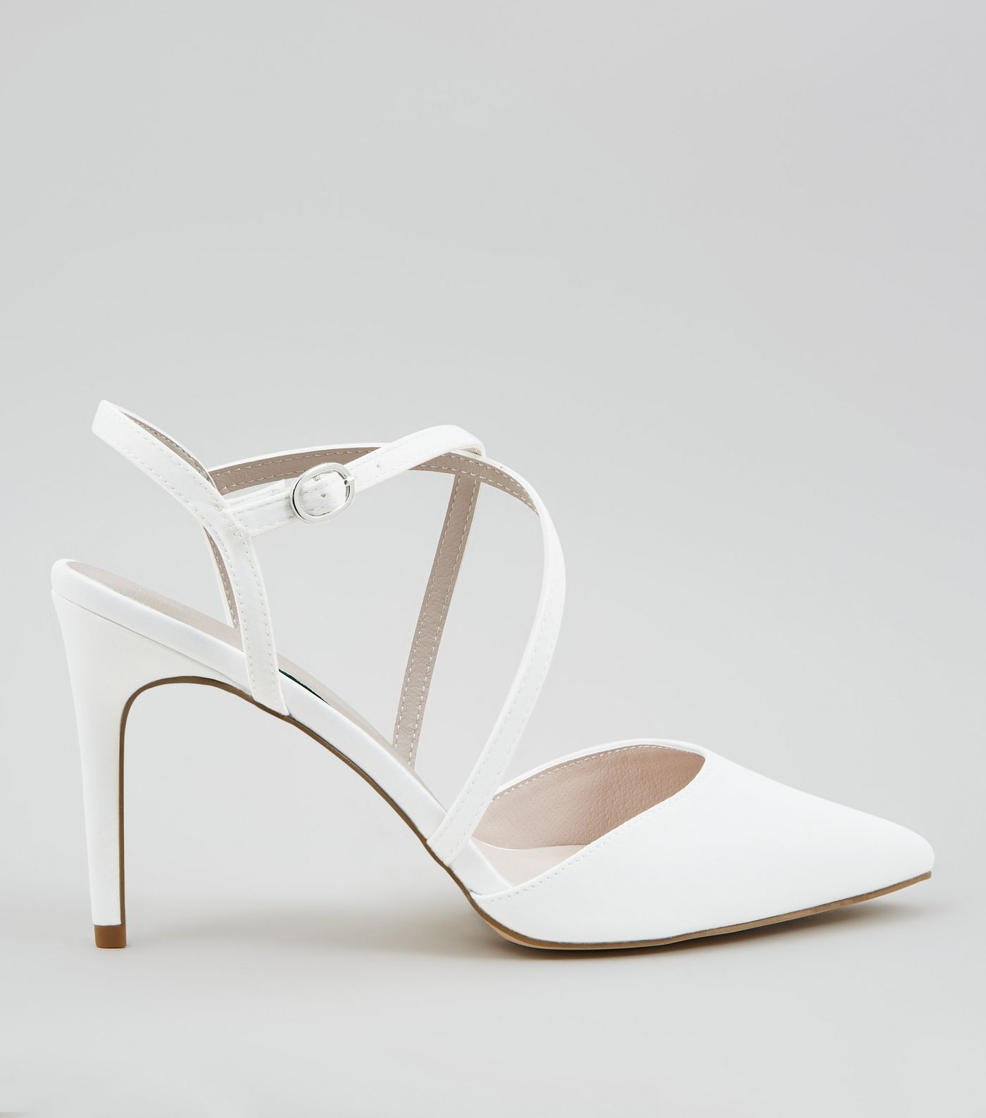 Ivory Satin Cross Strap Pointed Heels New Look Wedding Guest