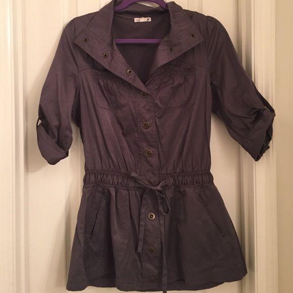 Dark grey button jacket Dark grey. Button down. 3/4 sleeve. Tie at waist. Pockets. Light material. Mine Jackets & Coats
