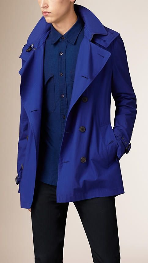 3470f5947b7e Burberry Bright lapis Cotton Poplin Trench Coat - A showerproof trench coat  made from lightweight cotton poplin. A Kensington modern fit, the trench  coat is ...