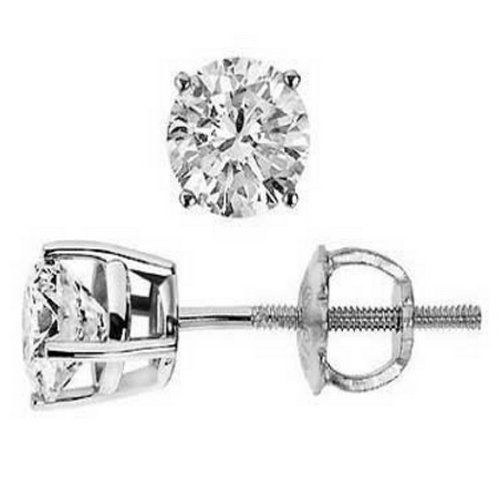 90f745965 Diamond Earrings Design | 910 Carat Round Solitaire Diamond Earrings in 14K  White Gold in Screw Back Basket Mounting 4 Prong Mounting 090 Carat J Color  I1 ...