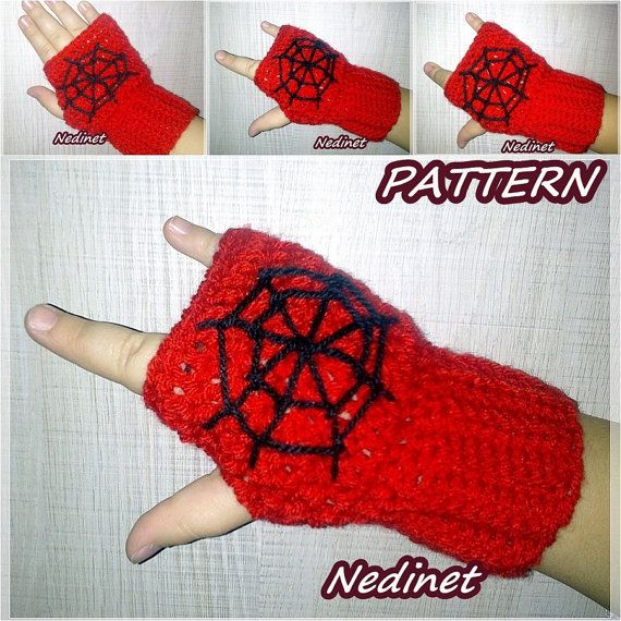 Spiderman Fingerless Gloves With , Crochet Pattern Hand Warmers ...
