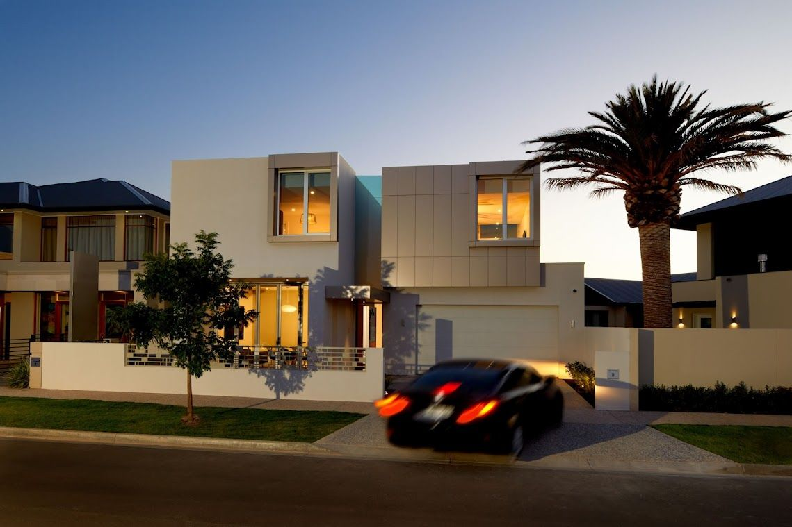Adelaide builder precision homes display home at night for Adelaide innovative landscaping