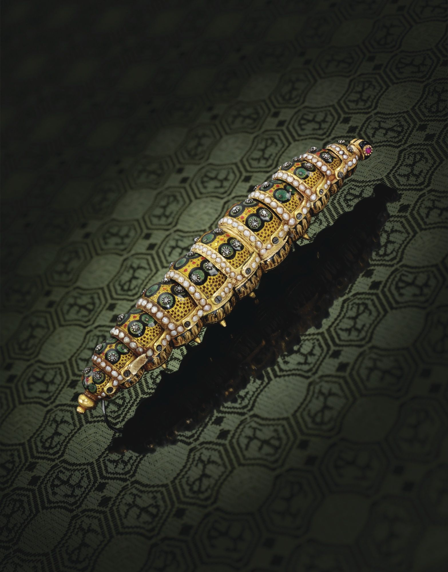 Ethiopian Caterpillar, a jewelled gold automaton 1810 Geneva.