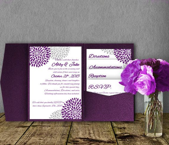 Silver Purple Wedding Invitation Template By SasafrasPrintables - Wedding invitation templates: silver wedding invitations templates