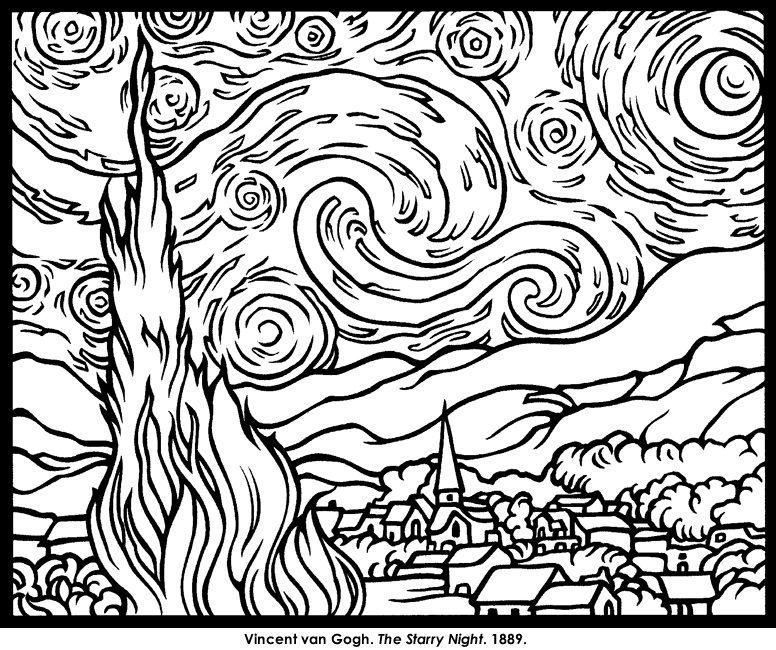 فان غوغ Van Gogh Coloring Starry Night Van Gogh Picasso Coloring